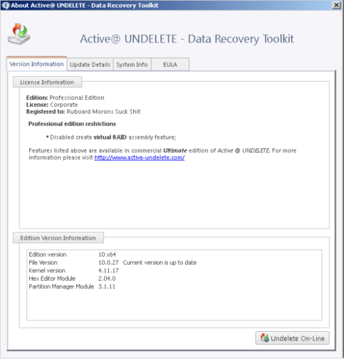 Active Undelete Ultimate 12 Registration Key
