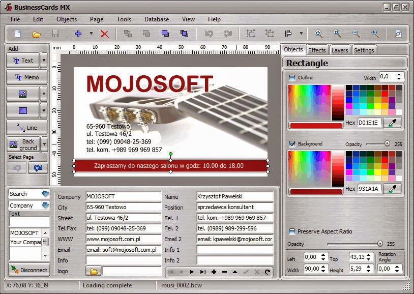 Mojosoft BusinessCards MX Free Download